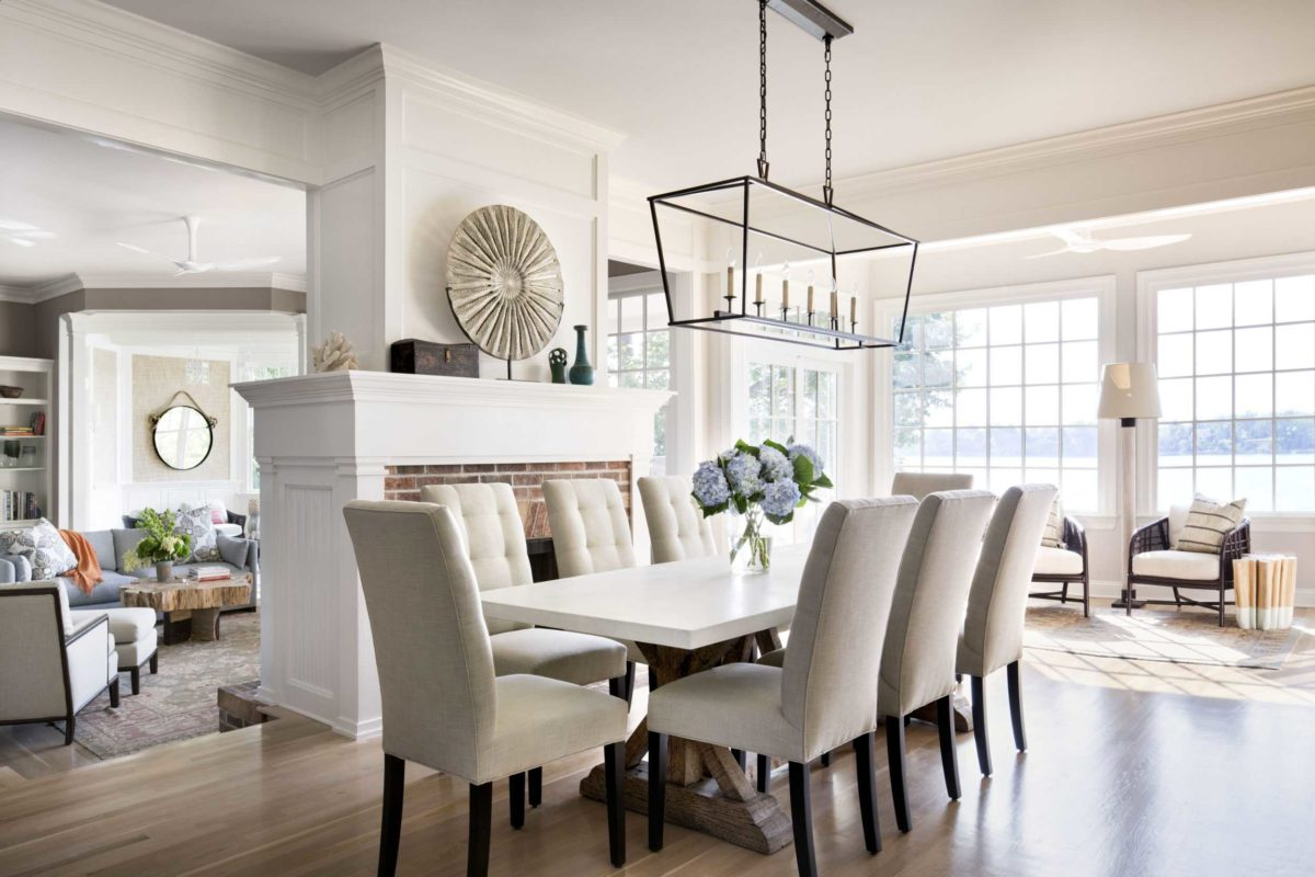 neutral contemporary dining room with fireplace
