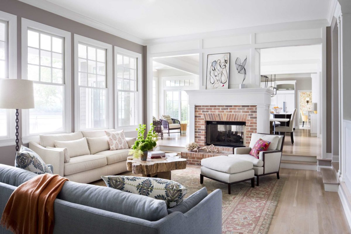 white and neutral bright living room in new jersey home