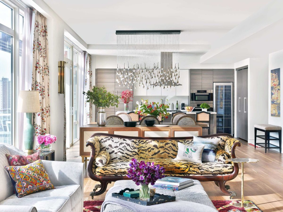 Leopard couch in modern chelsea penthouse living room