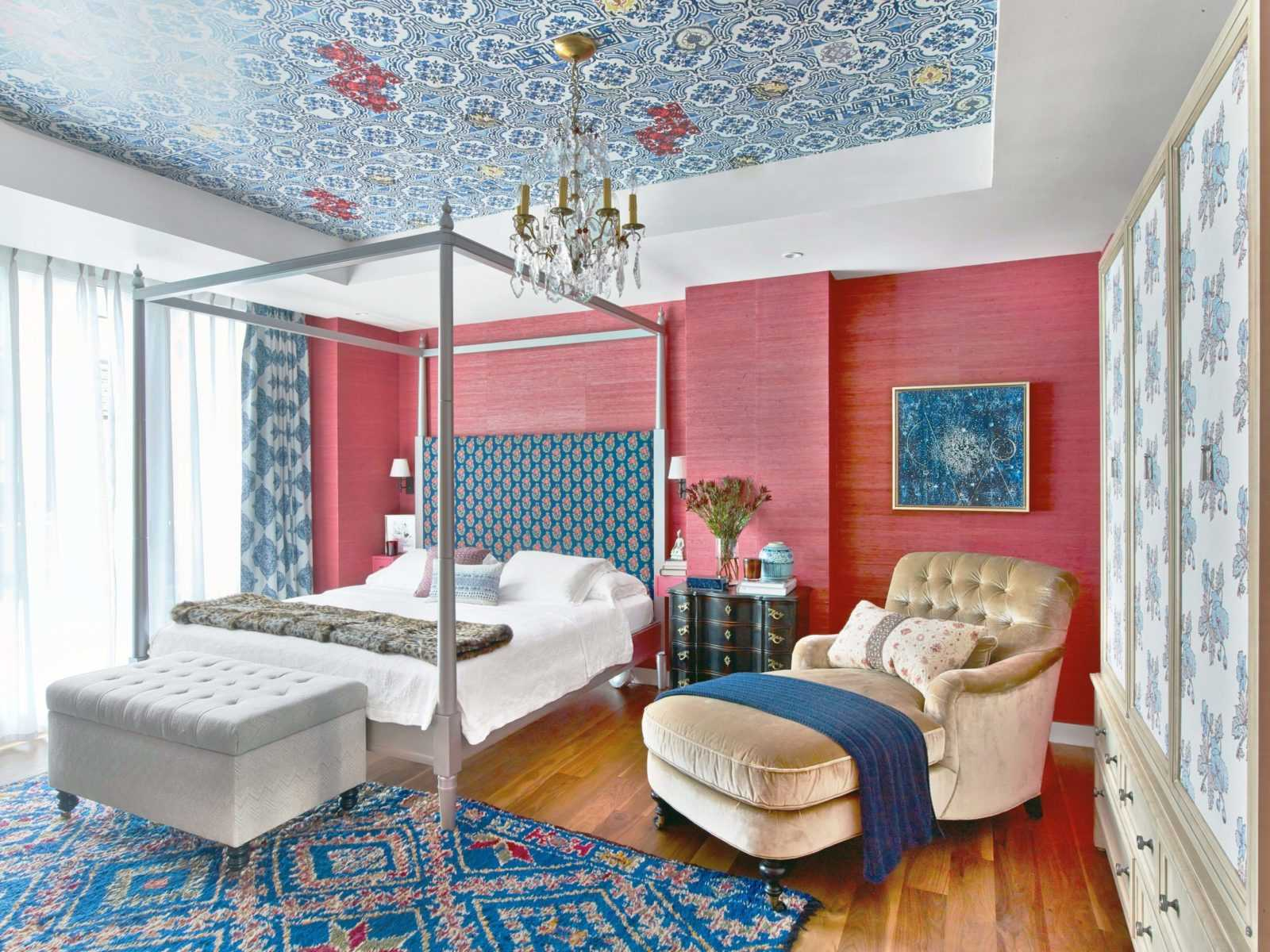 non traditional blue and red glamorous bedroom