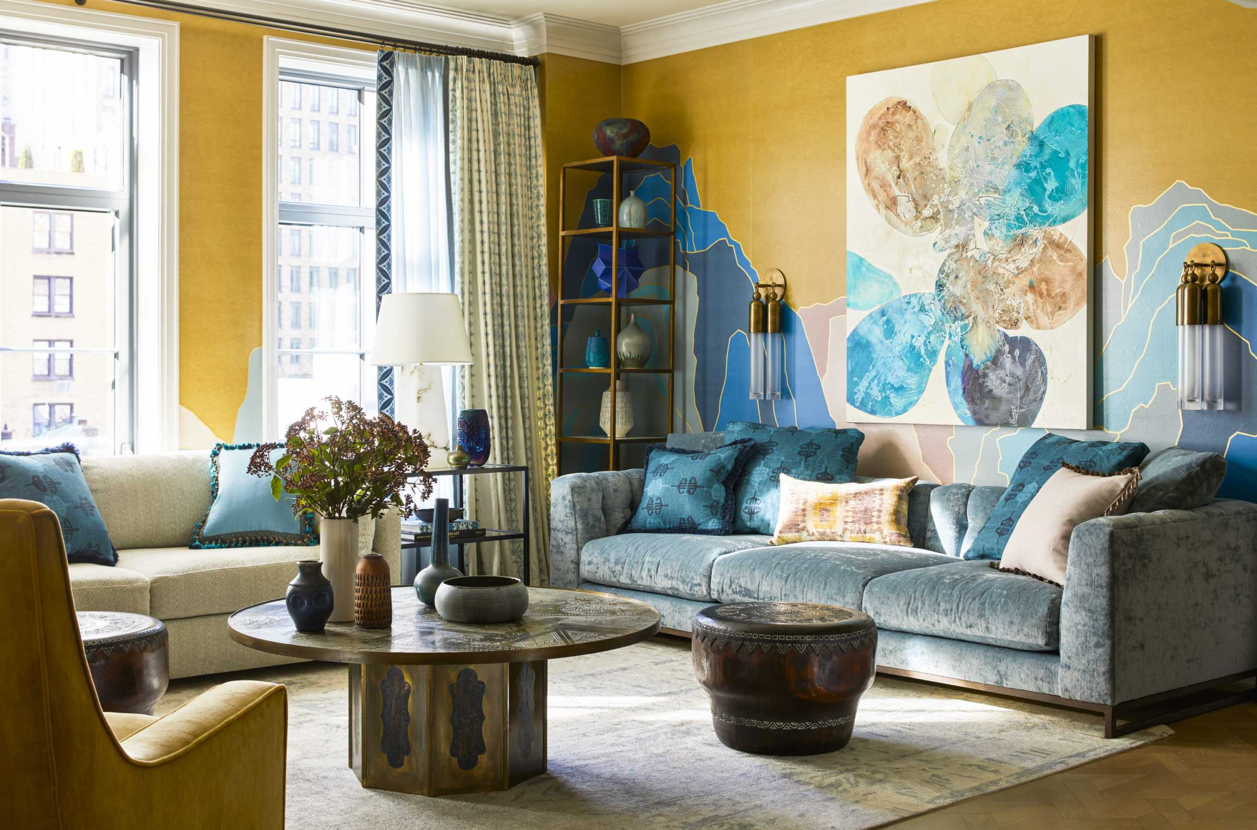 bright yellow and blue contemporary living room