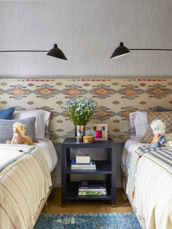 playful blue and red and white children's bedroom