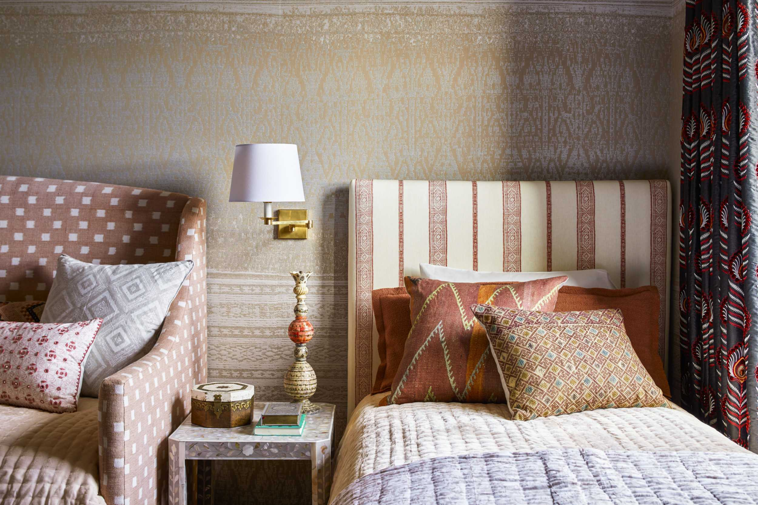Cream, Orange, and Red Fall Inspired Bedroom Interior Design by Kati Curtis Design
