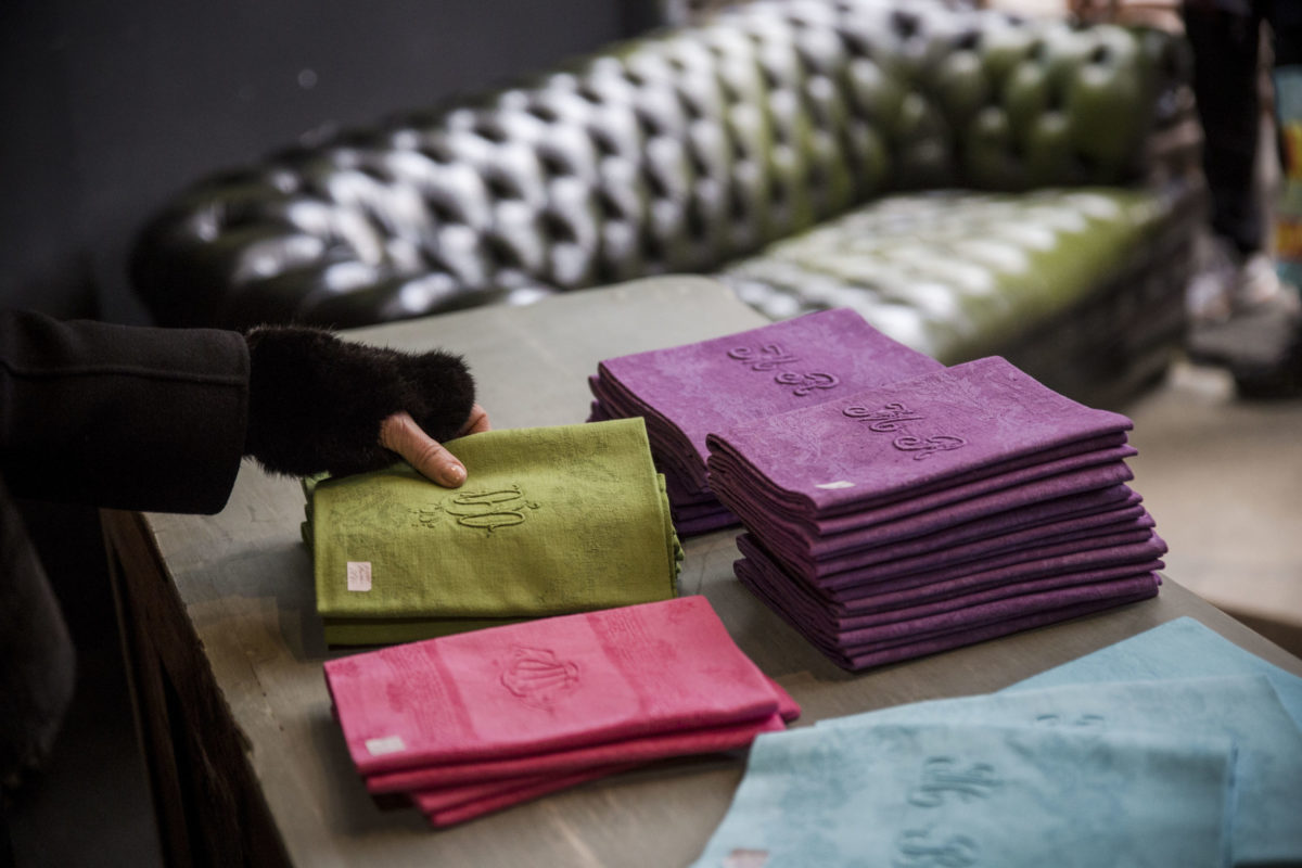 Colorful monogram napkins from Paris