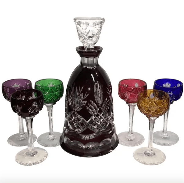 colorful crystal goblets