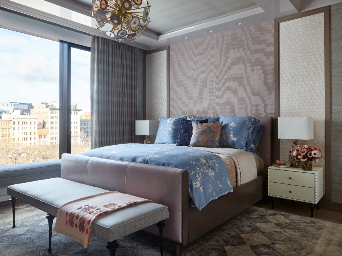 contemporary mauve and blue bedroom with edgy and floral interior design styles